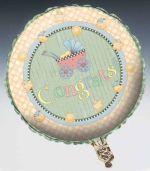 Debbie Mumm Baby Carriage Metallic Balloon, 18 square, 2 Sided inch