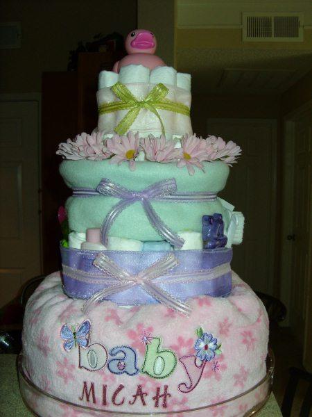 Pink Amp Green Diaper Cake See How Kari Made One
