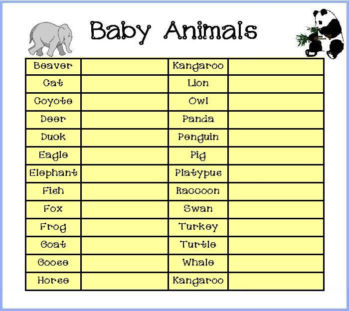 Animal Babies Shower Games 700 x 624