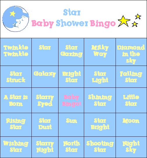baby shower game bingo cards