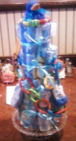 Baby Blue Diaper Cake