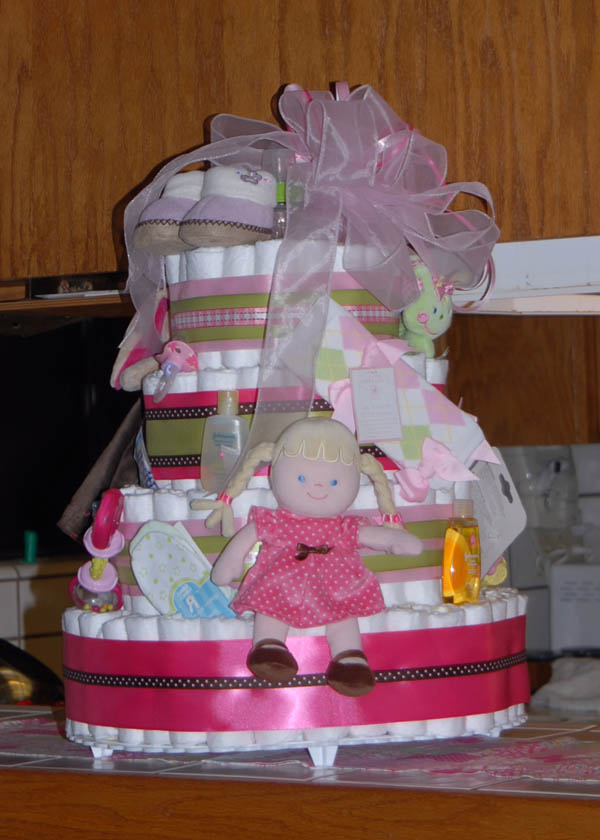 A Baby Diaper Cake with Wonderful Color