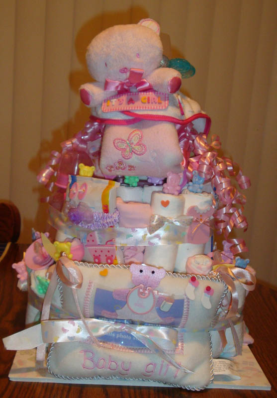 baby girl diaper cake brimming with good ideas