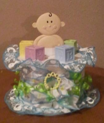 Diaper Cake Centerpiece For Baby Shower : Baby Shower Diaper Cake Table Centerpiece and Diaper Cakes