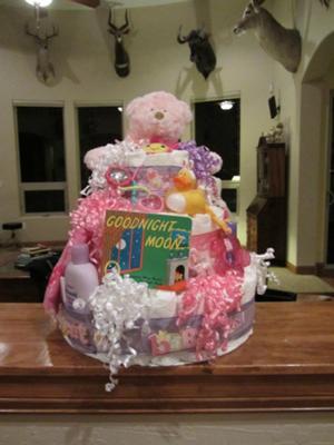 Bear Diaper Cake For A Girl Baby Shower