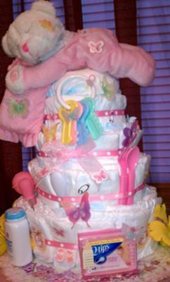 4 Tier pink diaper cake