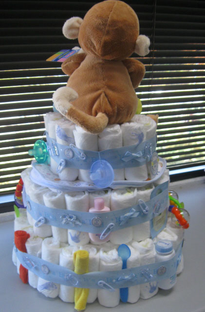 Monkey diaper cake picture