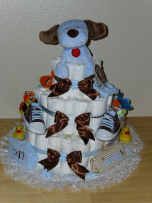 Dee's Blue/Brown 3 tier Diaper cake