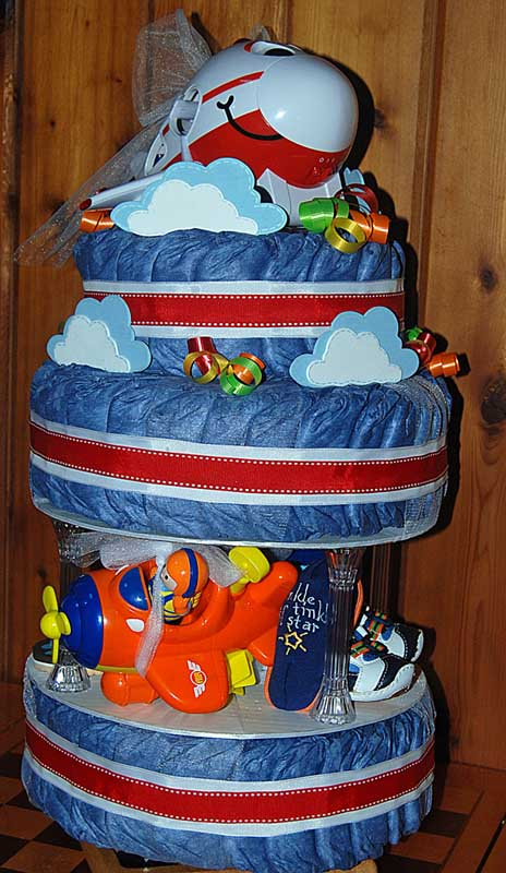 darling denim diaper cake