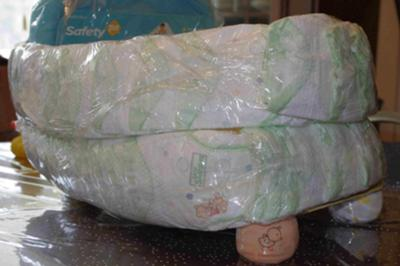 Diaper rows taped to make the sides of the