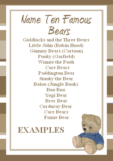 Famous Bears Name Game