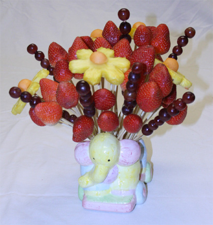 Edible fruit bouquet baby shower centerpiece