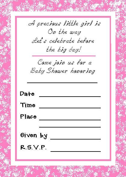 free printable girl baby shower blank invitation card