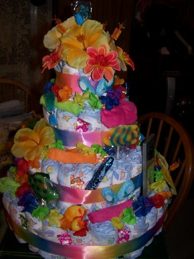Tropical Diaper Cake, Beach Theme Baby Shower Centerpiece ...