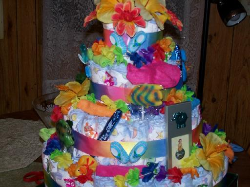Surfing Hawaiian Diaper Cake tropical baby shower gift or ...