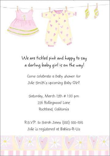 Cute Personalized Baby Girl Shower Invitations - Baby shower invitation text