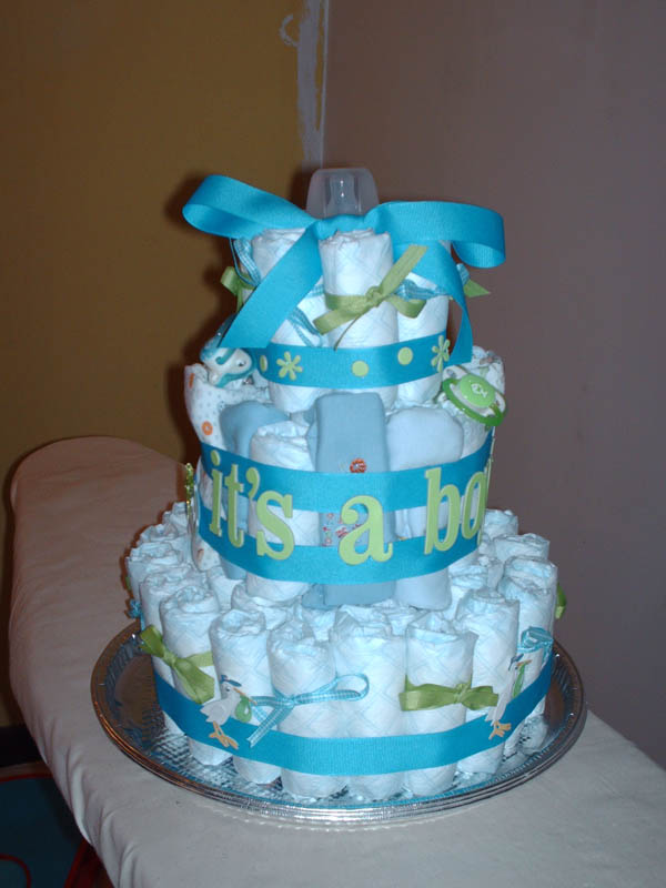Boy Diaper Cake Decorations : Baby Shower Cakes: Baby Shower Cake Ideas For A Baby Boy