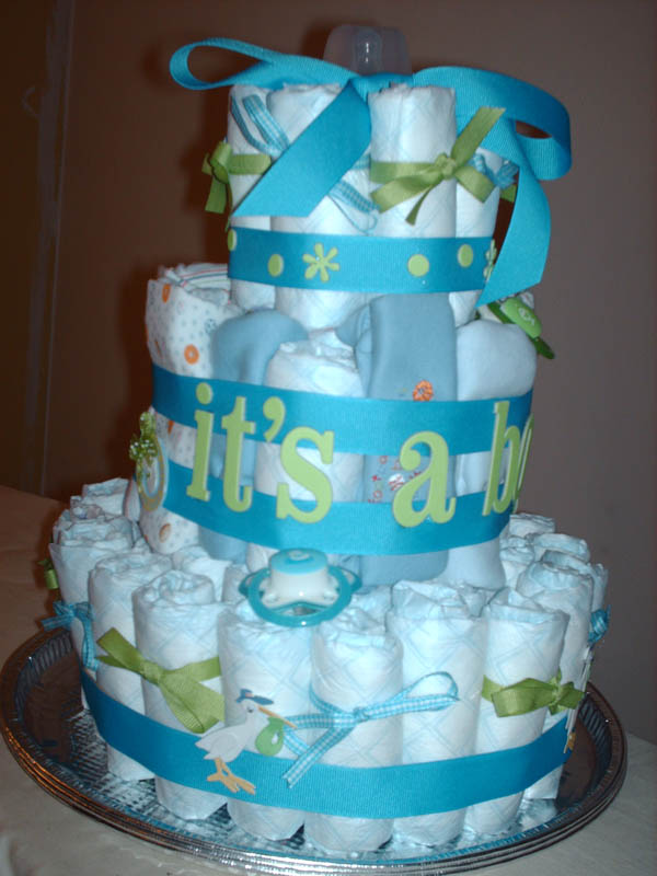 Diaper Cake Ideas For Baby Boy : Darling Boy Baby Shower Cake - Lots of Color and Lots of Cute!