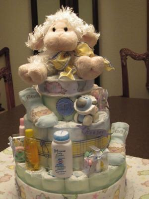 Lamb Diaper Cake For Baby Shower