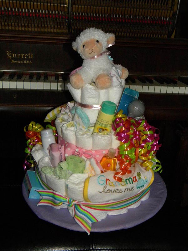Bright & Cheerful Lamb Diaper Cake