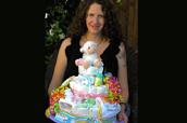 Bright & Cheerful Lamb Diaper Cake