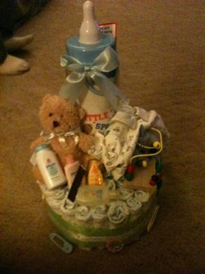 the bottem was made out of diapers and on top was filled with baby things.