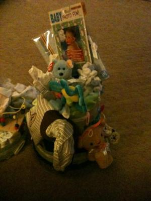 This one was made out of blankets and it also has cloths and other baby things on top.