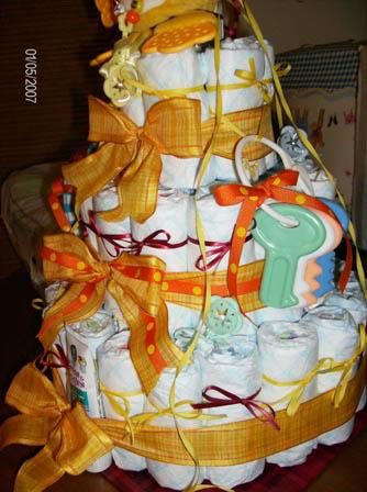 Orange Diaper Cake