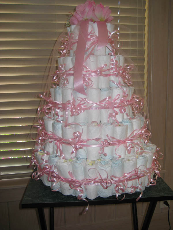 Five tier diaper cake