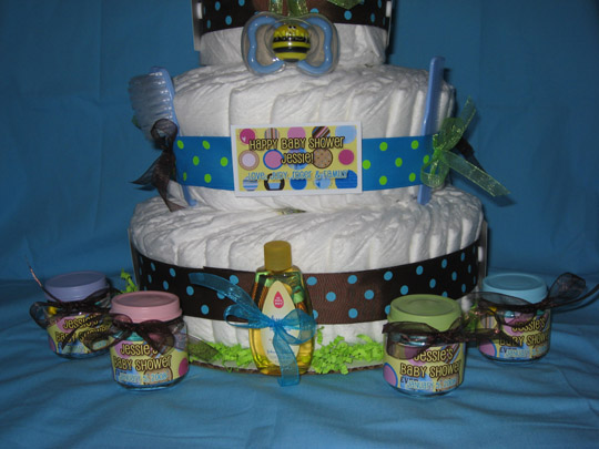 polka dot baby shower cake