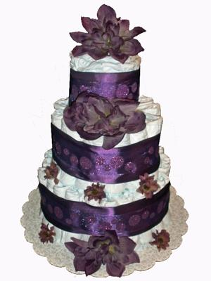 Purple Delight Floral Diaper Cake