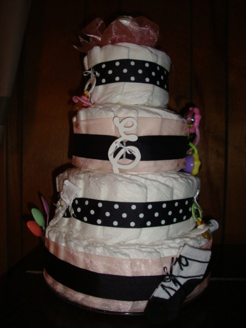 Diaper Cake Decorating Ideas : Cake Ideas Photograph rose diaper cake 4 jpg