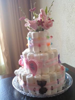 Sweet baby girl diaper cake this sweet and charming diaper cake has some wonderful ideas that will inspire you as you create your own diaper cake the touches of color publicscrutiny Image collections