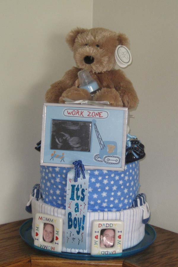 Brown teddy bear diaper cake