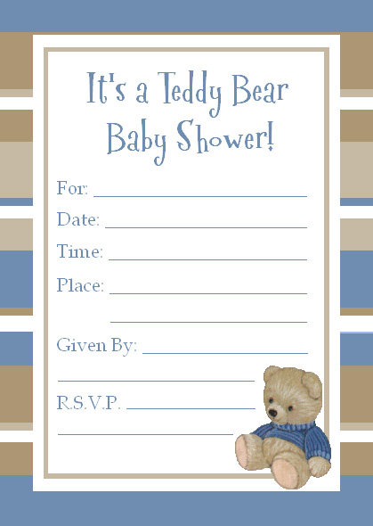 Cute Teddy Bear Baby Shower Invitations for a baby boy