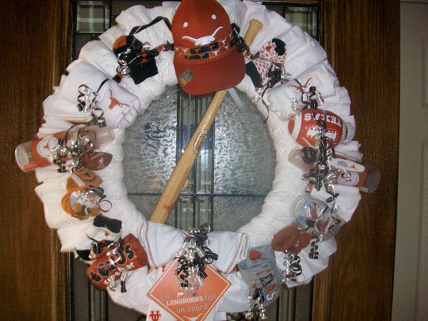 texas longhorn diaper wreath