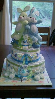 Twin Bunny Diaper Cake