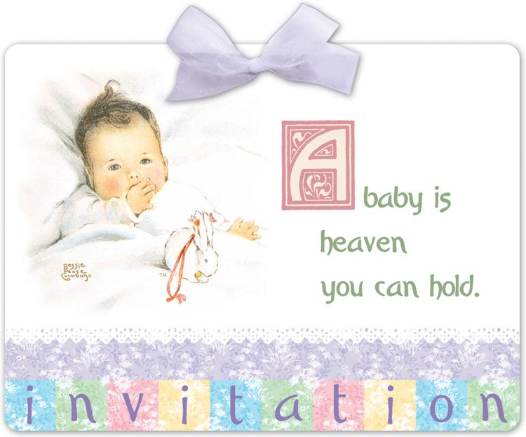 vintage nursery invitation postcard w vellum ribbon
