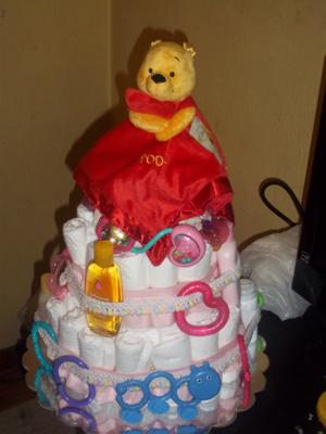 Finished cake with Pooh Plush topper