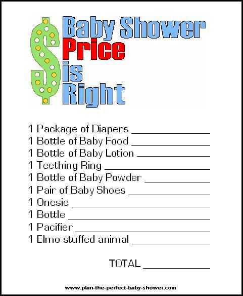 Free printable price is right baby shower game.