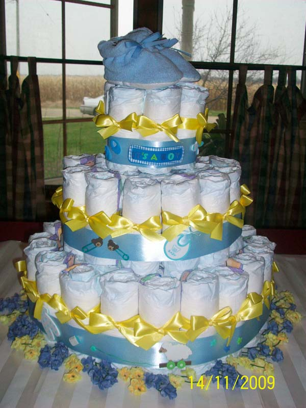 Yellow and Blue Diaper Cake
