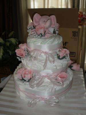 Simple, elegant baby girl diaper cake