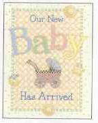 Debbie Mumm Baby Carriage Birth Announcement, Folded