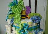 frogs n flowers diaper cake