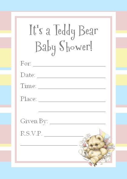 teddy bear invitations for a baby shower