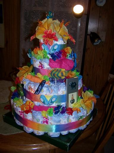 Hawaiian-Themed Baby Diaper Cake Instructions & Pictures