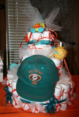 Miami Dolphins Diaper Cake