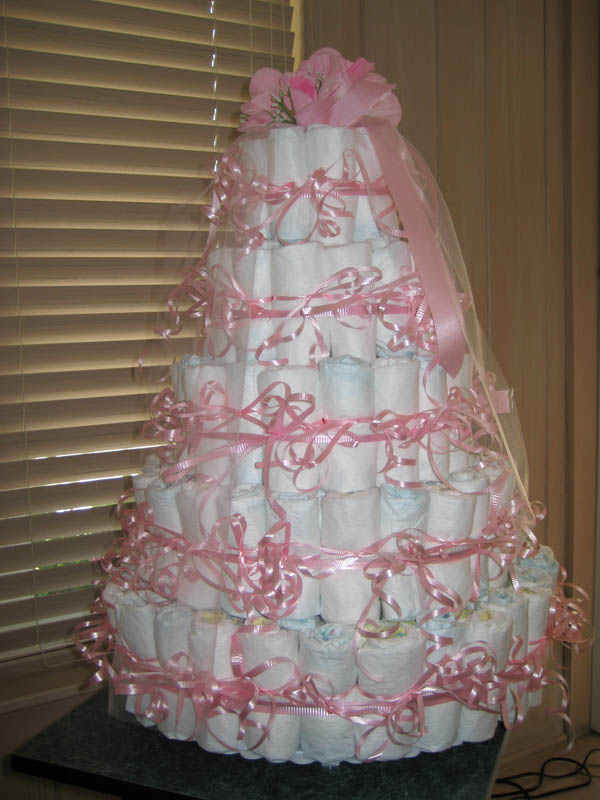 Pink Bow Diaper Cake
