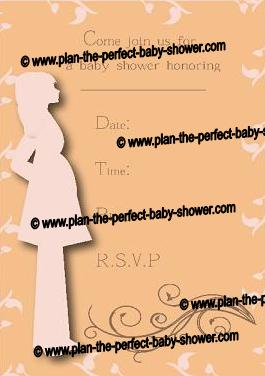 Pregnant Silhouette Invitation for Baby Shower