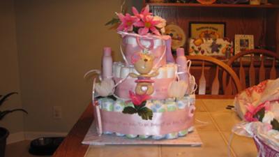 Pretty & Pink Diaper Cake